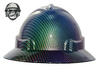 Custom Hydrographic Wide Brim Safety Hard Hats COLOUR CARBON WIDE
