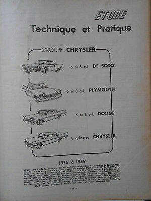 ► Revue Technique - Chrysler- Plymouth -Dodge //Citroen Ds 19 Hydraulique 1960