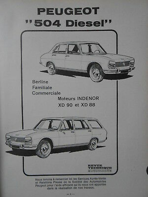 ► Revue Technique - Peugeot 504 Diesel - Berline - Familiale - Commerciale 1972