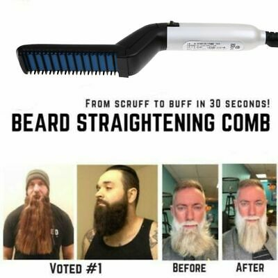 Mens Quick Beard Straightener Multifunctional Hair Comb Curling Curler Men Show