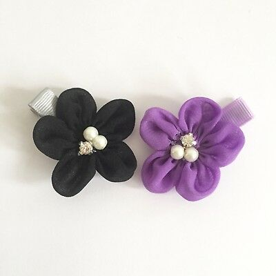 Clibella SALE! 2 packs Of Purple and Black flower Hair Clips/girls Accessories