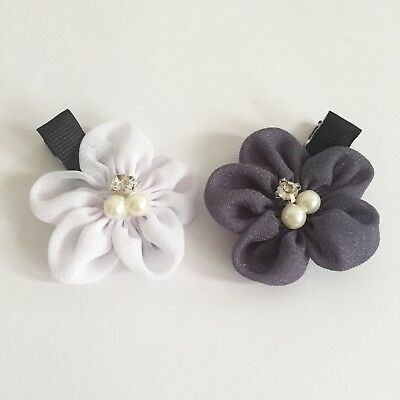 Clibella SALE! 2 packs Of White and grey flower Hair Clips/gifts Idea