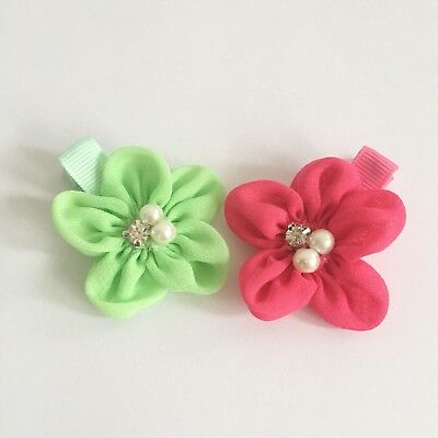 Clibella SALE! 2 packs Of Hot pink and lime green flower Hair Clips/gifts