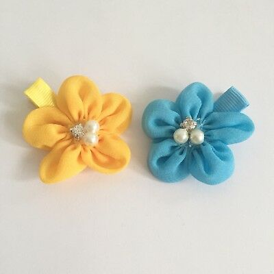 Clibella SALE! 2 packs Of Yellow butter and sky blue flower Hair Clips/gifts