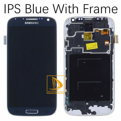 Phone Samsung Galaxy S4 GT-i9505 Touch Screen Digitizer LCD Assembly +Frame Blue