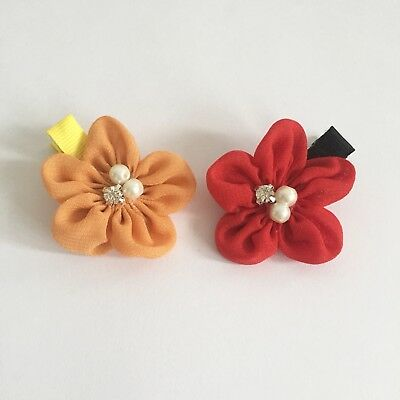 Clibella SALE! 2 packs Of Red and peach flower Hair Clips/girls Accessories