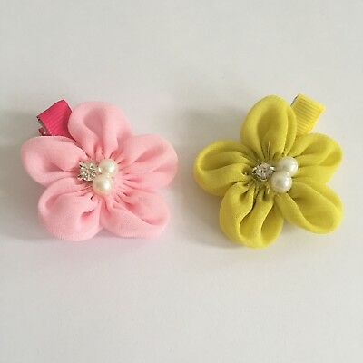 Clibella SALE! 2 packs Of Pink and yellow flower Hair Clips/girls Accessories