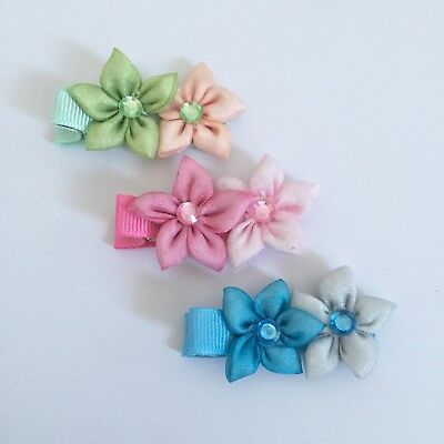 Clibella SALE! 3Packs Of Luna Flower hair Clips/girlsAccessories/pink/blue/green