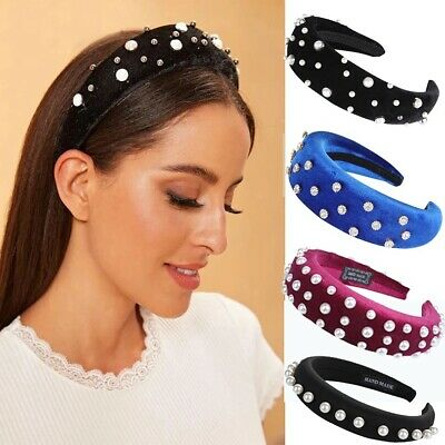 Women's Hairband Headband Pearl Padded Sponge Velvet Hair Hoop Bands Accessories