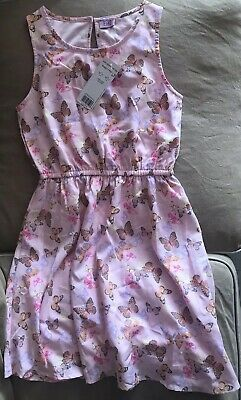 "Gorgeous BNWOT Girls Pink Butterfly Print Dress Age 10-11 Years ""F&F"""
