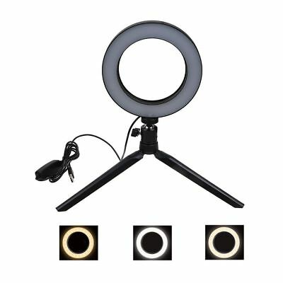 "6"" LED Ring Light w/Stand 5500K Dimmable Lighting Kit for Makeup Phone Camera CA"