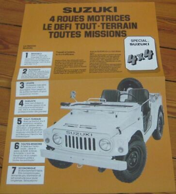 Brochure Prospekt Dépliant Catalogue 1980's SUZUKI LJ80 4X4 French