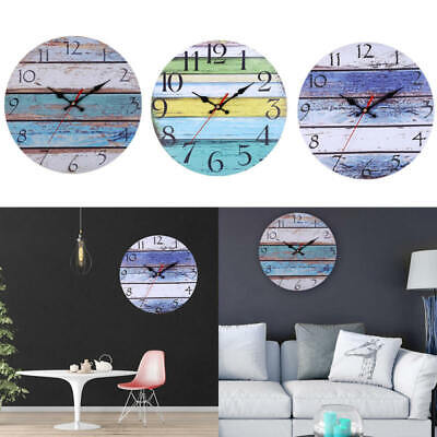 Rural Rustic Wooden Wall Clock Kitchen Antique Shabby Chic Retro Home Dec IQV