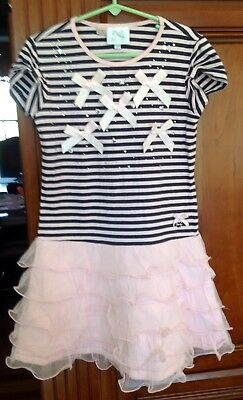 2a875e2208d0 GIRLS LE CHIC Striped Ruffle Dress with Bows size 8 or 128 - $22.99 ...
