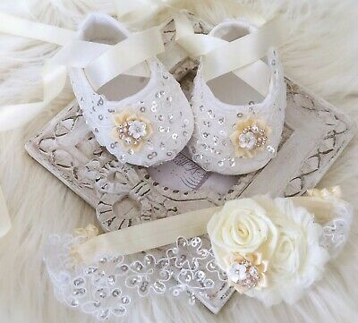 Baby Girl Ivory Christening Shoes Baptism Shoes Satin Flower Sequins Headband