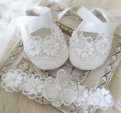 Baby Girl Off White Christening Shoes Baptism Shoes Daisy with Pearls Flowers