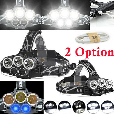 80000LM T6 5x LED Headlamp Rechargeable 18650 Hunting Headlight Flashlight Lamp☆