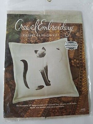 Elsa Williams Siamese Cat Crewel Embroidery Kit Picture Pillow Linen Wool Yarn