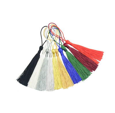 Mixed Color 100pcs 13cm/5 Inch Silky Floss bookmark Tassels with 2-Inch Cord Loo