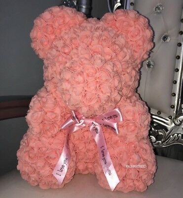 Forever Lasting Rose Flower Bear - Peach (all Colours Available)