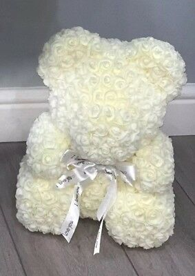 Forever Lasting Rose Flower Bear - Cream (all Colours Available)