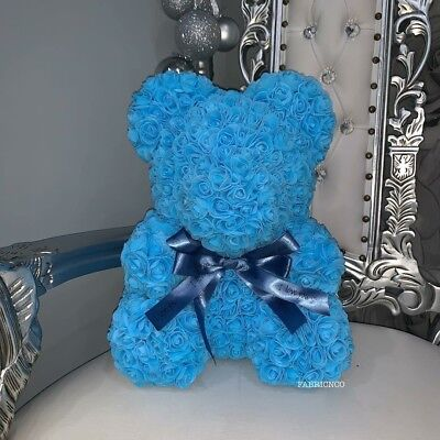 Forever Lasting Rose Flower Bear - Baby Blue (all Colours Available)