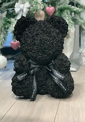 Forever Lasting Rose Flower Bear - Black (all Colours Available)