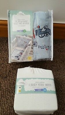 Up Up and Away Crib Bumper and Quilt Set and 3 sheets baby bedding bundle