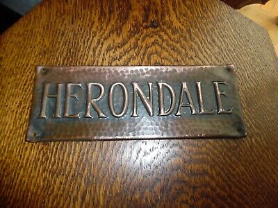 Arts&Crafts Beaten Copper House Plaque - Herondale