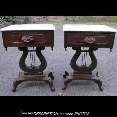 Vintage Pair Mahogany Rose Carved Lyre Base Italian Marble Top End / Side Tables