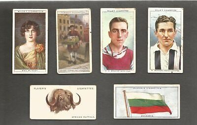 Six Cigarettes cards 1920-1950 Footballers, Flag Wild Animals,