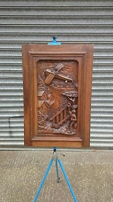 Large Old French Extensively Carved Wall Panel