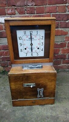 A Vintage National Time Recorder Co Ltd Clocking In Clock For Restoration