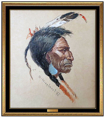 Olaf Wieghorst Original Watercolor Painting On Board Signed Native American Art