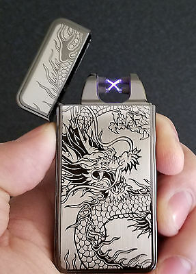Black Dragon USB Rechargeable Flameless Windproof Dual Arc Electric Lighter 10PC