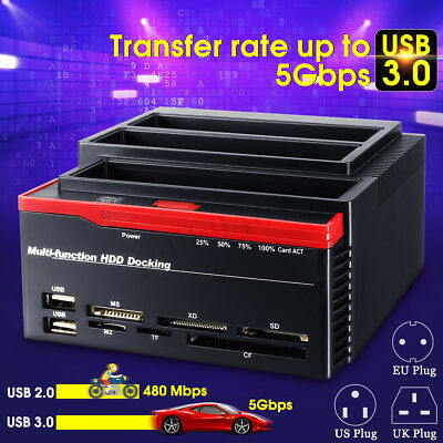 "USB 3.0 SATA HDD IDE Triple Bay 2.5"" 3.5'' Hard Drive Card Docking ABS Station"