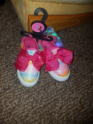 lovely Girls glittery rainbow shoes with bow toddler girl size 5 memory foam new