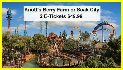 Knotts Berry Farm or Soak City 2 E-Tickets Delivered Instantly $49.99