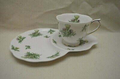 Vintage Royal Albert Highland Thistle Tea Cup & Saucer Tennis Snack Set