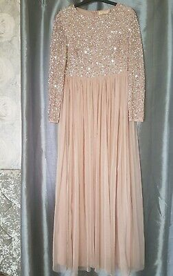 710e95311bdf Size 12 Worn once Maya Bridesmaid long sleeve maxi tulle dress, delicate  sequin.