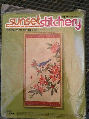 "Vintage 1980 Sunset Stitchery ""Songbird Of The Orient"" Embroidery Kit Floral"
