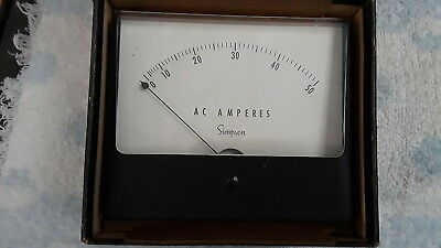 Vintage SIMPSON AC AMPERES METER, 0-50 - Used - UNTESTED Good Condition!