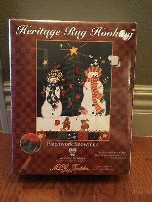 New Patchwork Snowmen Christmas Heritage Rug Hooking Kit 73020 Rare SEALED