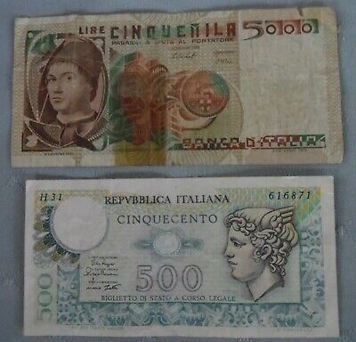 Banknotes, Italy 5000 Lire & 500 Lire old paper money