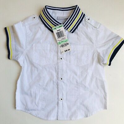 First Impressions Baby Boy White Collared Button Down Shirt NWT 18 Months