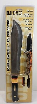 "Schrade Old Timer Hunting Bowie 10""Knife W/ Sheath Case, Snowblind Folder Combo"