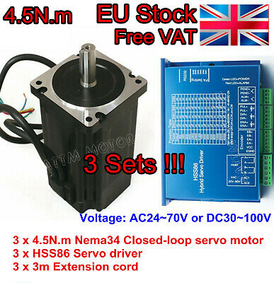 EU 3 x Nema34 4.5N.m CNC Kit Closed Loop Servo Motor 82mm &HSS86 Driver&3M Cable