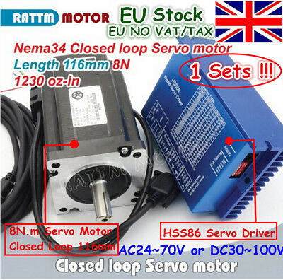 EU Ship Nema34 8N.m Closed Loop Servo Motor 116mm 6A+HSS86 Hybrid Driver CNC Kit
