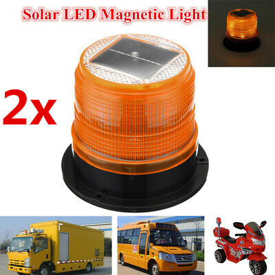 2x Solar LED Beacon Flashing Magnetic Strobe Emergency Warning Light Lamp 12V