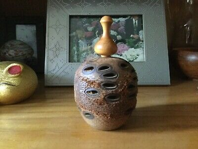 Banksia nut / cone turned pomander with wooden stopper